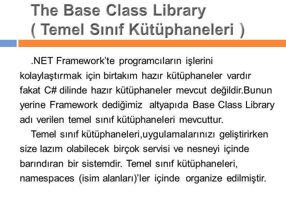.NET Framework'te programcıların işlerini kolaylaştırmak için birtakım hazır kütüphaneler vardır fakat C# dilinde hazır kütüphaneler mevcut değildir.B