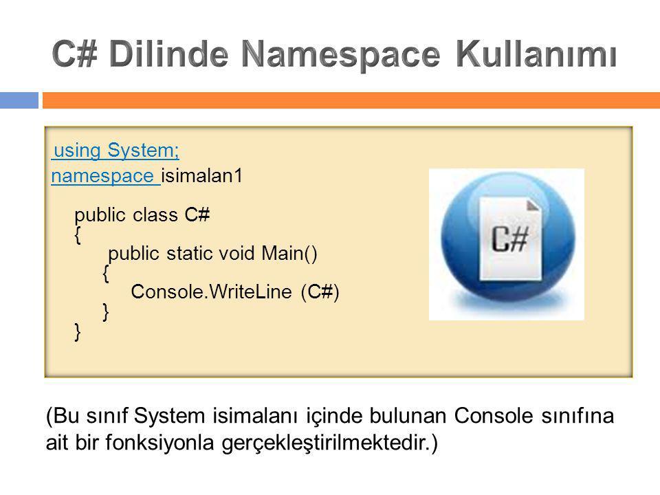 using System; namespace isimalan1 public class C# { public static void Main() { Console.WriteLine (C#) } } (Bu sınıf System isimalanı içinde bulunan C