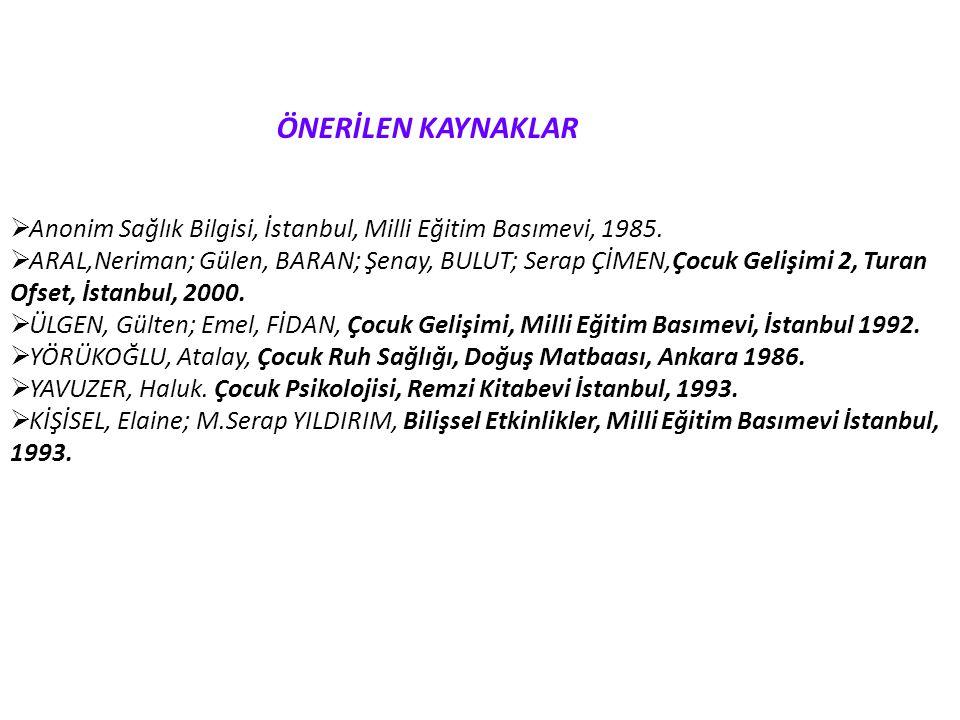 ÖNERİLEN KAYNAKLAR  Anonim Sağlık Bilgisi, İstanbul, Milli Eğitim Basımevi, 1985.  ARAL,Neriman; Gülen, BARAN; Şenay, BULUT; Serap ÇİMEN,Çocuk Geliş