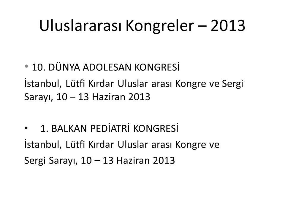 Uluslararası Kongreler – 2013 10. DÜNYA ADOLESAN KONGRESİ İstanbul, Lütfi Kırdar Uluslar arası Kongre ve Sergi Sarayı, 10 – 13 Haziran 2013 1. BALKAN