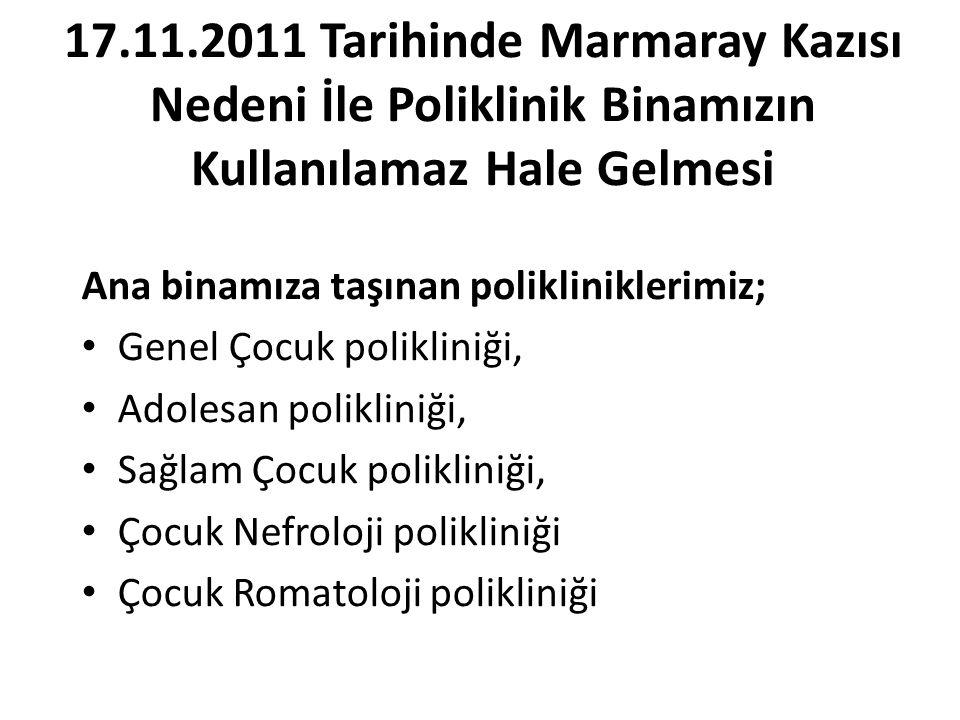 17.11.2011 Tarihinde Marmaray Kazısı Nedeni İle Poliklinik Binamızın Kullanılamaz Hale Gelmesi Ana binamıza taşınan polikliniklerimiz; Genel Çocuk pol