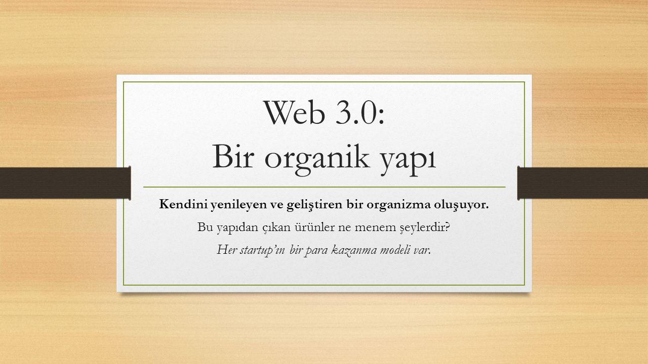 Web 3.0: Bir organik yapı Kendini yenileyen ve geliştiren bir organizma oluşuyor. Bu yapıdan çıkan ürünler ne menem şeylerdir? Her startup'ın bir para