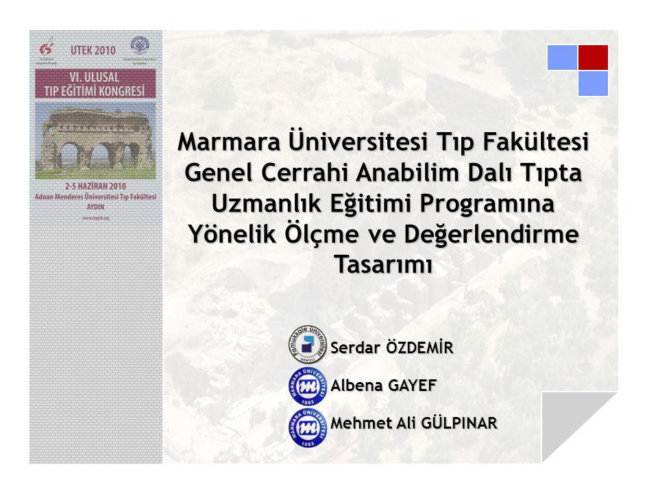 Serdar ÖZDEMİR Albena GAYEF Mehmet Ali GÜLPINAR Marmara Üniversitesi Tıp Fakültesi Genel Cerrahi Anabilim Dalı Tıpta Uzmanlık Eğitimi Programına Yönelik Ölçme ve Değerlendirme Tasarımı