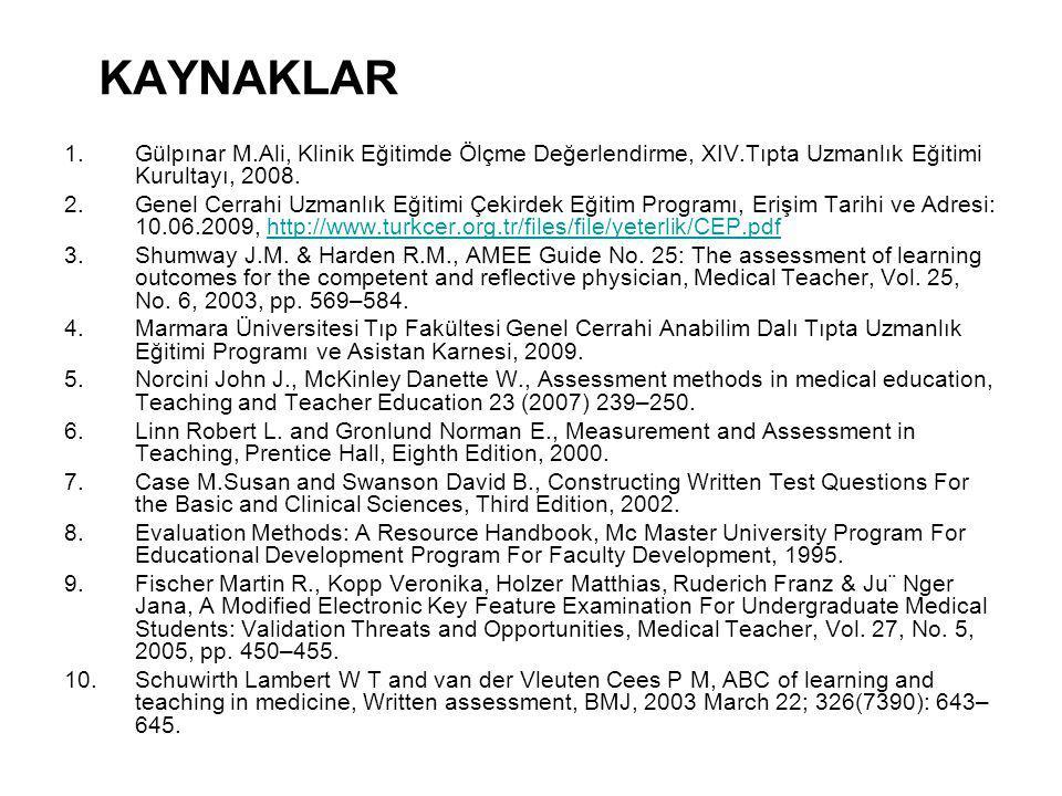KAYNAKLAR 1.Gülpınar M.Ali, Klinik Eğitimde Ölçme Değerlendirme, XIV.Tıpta Uzmanlık Eğitimi Kurultayı, 2008.