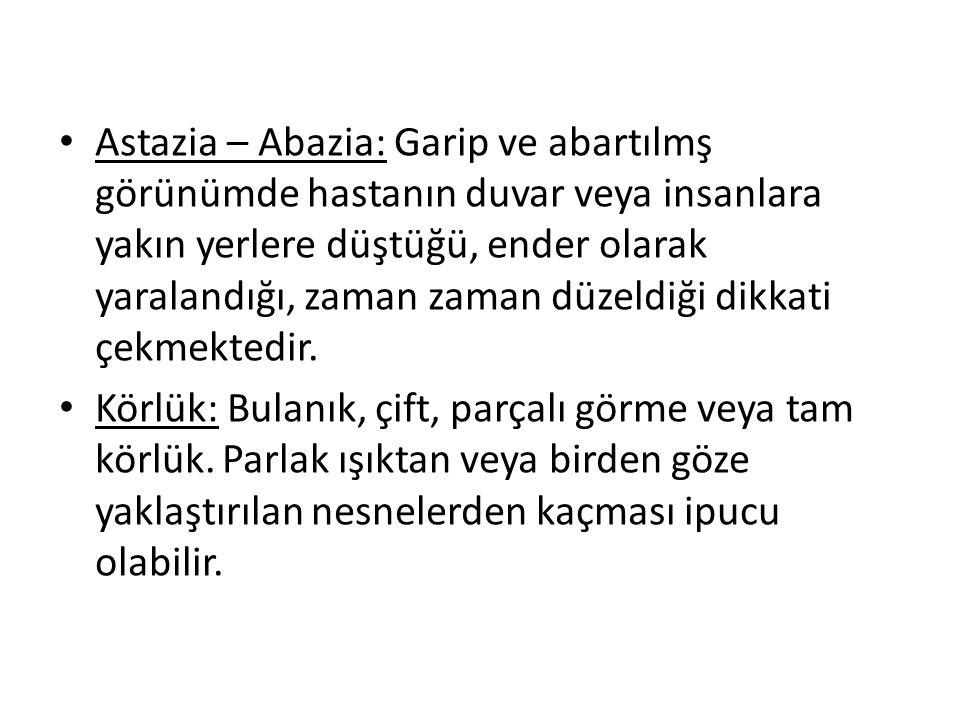 Astazia – Abazia: Garip ve abartılmş görünümde hastanın duvar veya insanlara yakın yerlere düştüğü, ender olarak yaralandığı, zaman zaman düzeldiği di