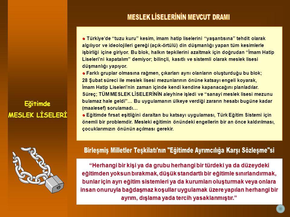 Eğitimde MESLEK LİSELERİ Herhangi bir kişi ya da grubu herhangi bir türdeki ya da düzeydeki eğitimden yoksun bırakmak, düşük standartlı bir eğitimle sınırlandırmak, bunlar için ayrı eğitim sistemleri ya da kurumları oluşturmak veya onlara insan onuruyla bağdaşmaz koşullar uygulamak üzere yapılan herhangi bir ayrım, dışlama yada tercih yasaklanmıştır. ● ● Türkiye'de tuzu kuru kesim, imam hatip liselerini yaşantısına tehdit olarak algılıyor ve ideolojileri gereği (açık-örtülü) din düşmanlığı yapan tüm kesimlerle işbirliği içine giriyor.