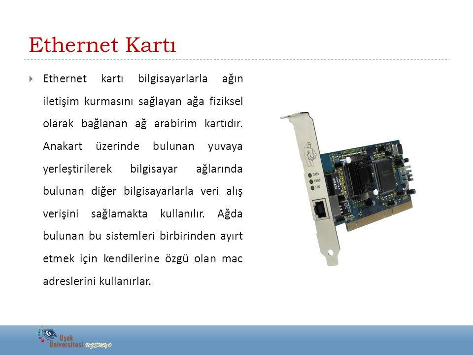 Ethernet Kartı  Ethernet kartı bilgisayarlarla ağın iletişim kurmasını sağlayan ağa fiziksel olarak bağlanan ağ arabirim kartıdır. Anakart üzerinde b