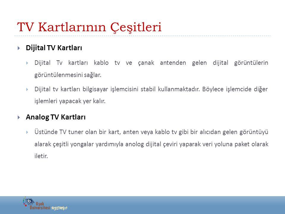 TV Kartlarının Çeşitleri  Dijital TV Kartları  Dijital Tv kartları kablo tv ve çanak antenden gelen dijital görüntülerin görüntülenmesini sağlar. 