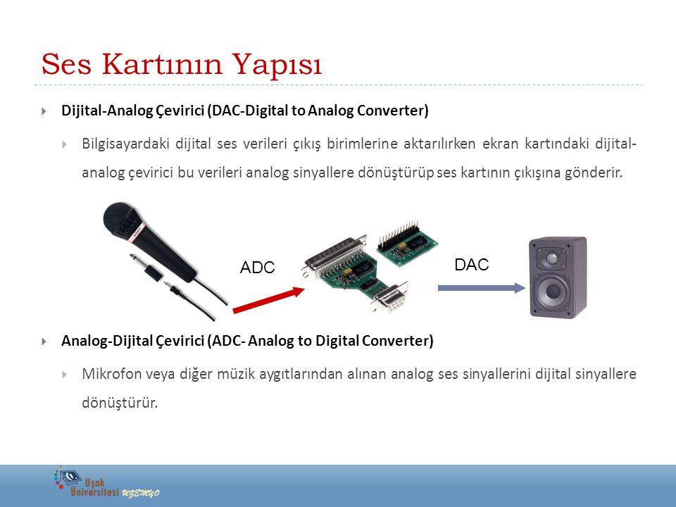 Ses Kartının Yapısı  Dijital-Analog Çevirici (DAC-Digital to Analog Converter)  Bilgisayardaki dijital ses verileri çıkış birimlerine aktarılırken e