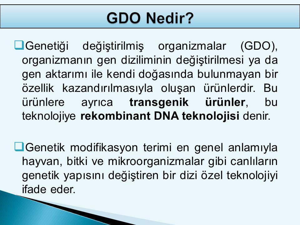GDO ürünlere aktarılan özelliklerin gruplandırılması