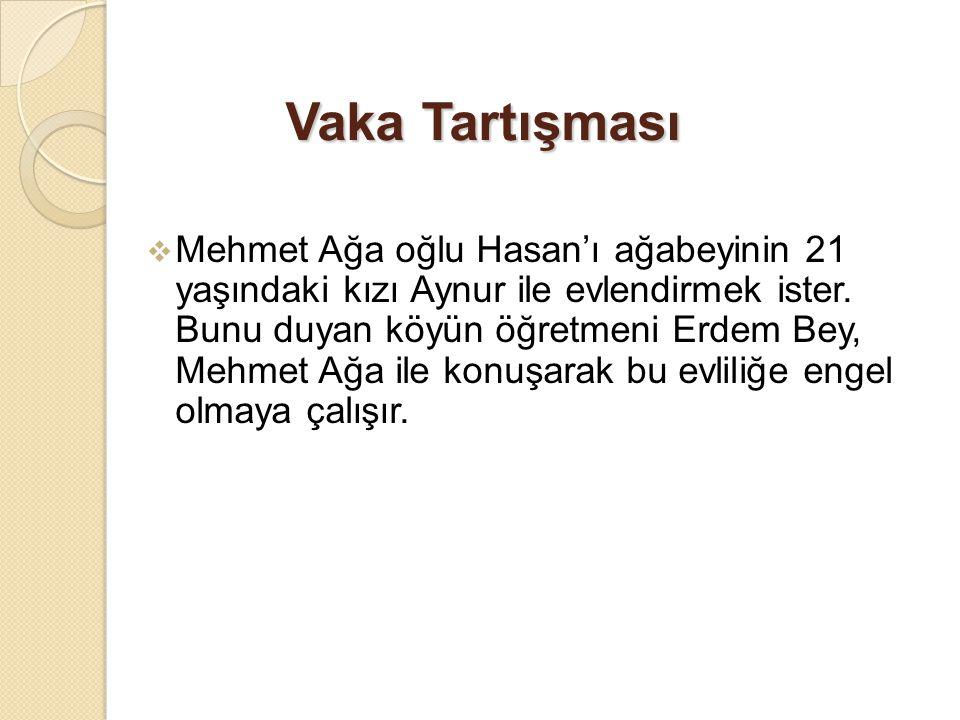 Vaka Tartışması  Mehmet Ağa oğlu Hasan'ı ağabeyinin 21 yaşındaki kızı Aynur ile evlendirmek ister. Bunu duyan köyün öğretmeni Erdem Bey, Mehmet Ağa i