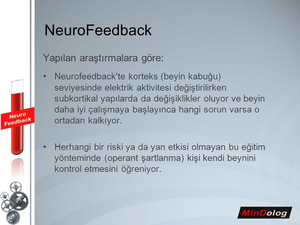 Yapılan araştırmalara göre: Neurofeedback'te korteks (beyin kabuğu) seviyesinde elektrik aktivitesi değiştirilirken subkortikal yapılarda da değişikli