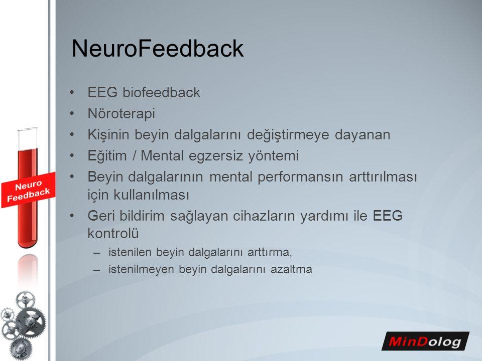 NeuroFeedback EEG biofeedback Nöroterapi Kişinin beyin dalgalarını değiştirmeye dayanan Eğitim / Mental egzersiz yöntemi Beyin dalgalarının mental per