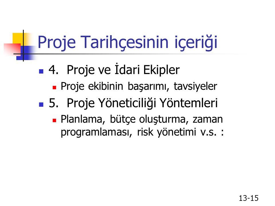 Proje Tarihçesinin içeriği 4.Proje ve İdari Ekipler Proje ekibinin başarımı, tavsiyeler 5.