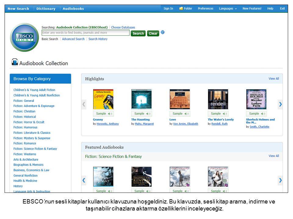 EBSCO'nun sesli kitaplar kullanıcı klavuzuna hoşgeldiniz.
