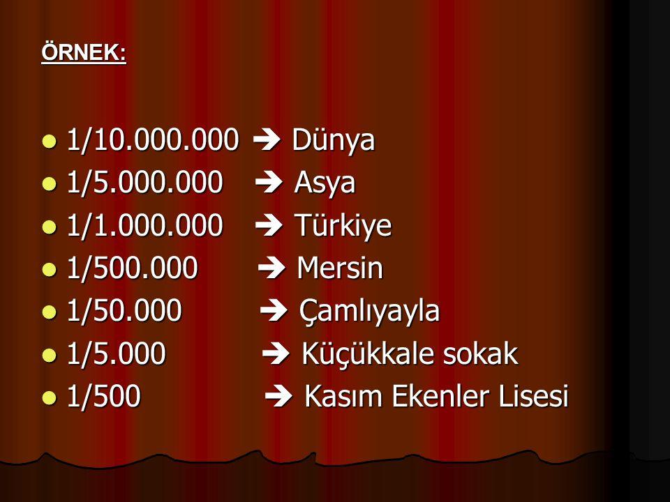 1/10.000.000  Dünya 1/10.000.000  Dünya 1/5.000.000  Asya 1/5.000.000  Asya 1/1.000.000  Türkiye 1/1.000.000  Türkiye 1/500.000  Mersin 1/500.0