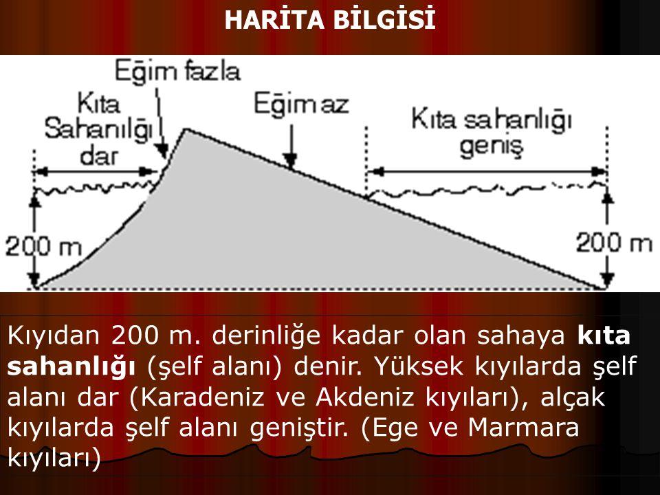 HARİTA BİLGİSİ Kıyıdan 200 m. derinliğe kadar olan sahaya kıta sahanlığı (şelf alanı) denir. Yüksek kıyılarda şelf alanı dar (Karadeniz ve Akdeniz kıy