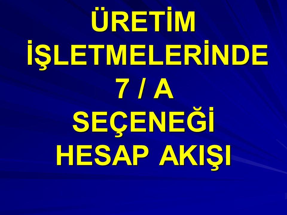 ÜRETİM İŞLETMELERİNDE 7 / A SEÇENEĞİ HESAP AKIŞI