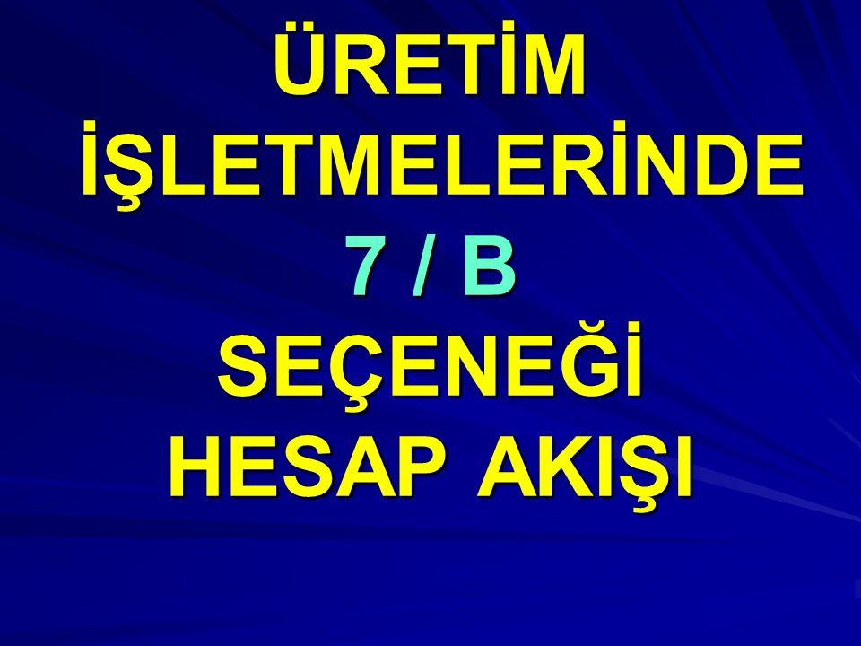 ÜRETİM İŞLETMELERİNDE 7 / B SEÇENEĞİ HESAP AKIŞI
