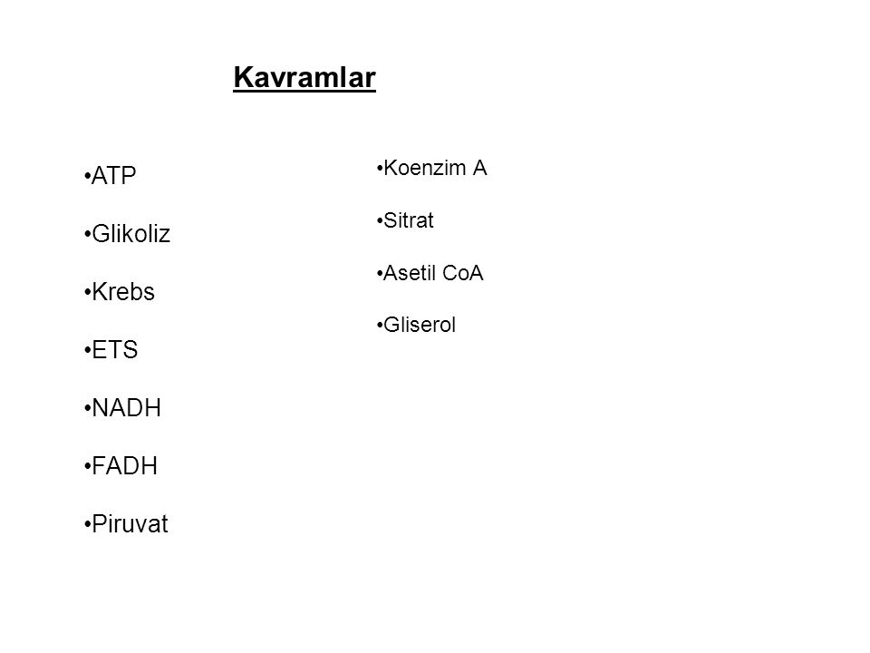 Kavramlar ATP Glikoliz Krebs ETS NADH FADH Piruvat Koenzim A Sitrat Asetil CoA Gliserol