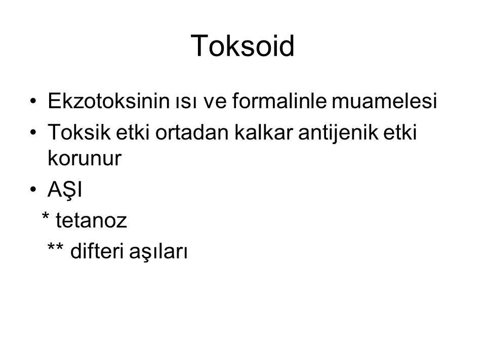 Toksoid Ekzotoksinin ısı ve formalinle muamelesi Toksik etki ortadan kalkar antijenik etki korunur AŞI * tetanoz ** difteri aşıları