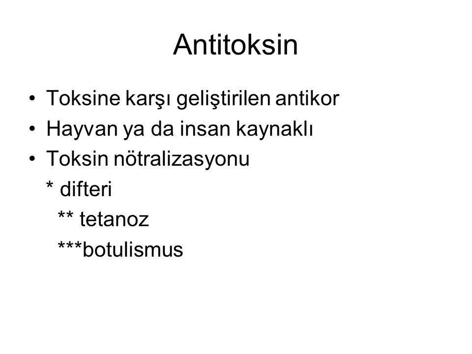Antitoksin Toksine karşı geliştirilen antikor Hayvan ya da insan kaynaklı Toksin nötralizasyonu * difteri ** tetanoz ***botulismus