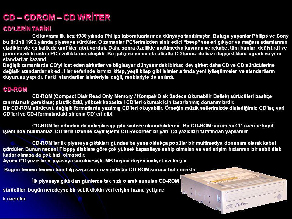 CD – CDROM – CD WRİTER CD'LERİN TARİHİ CD-ROM CD'LERİN TARİHİ Cd kavramı ilk kez 1980 yılında Philips laboratuarlarında dünyaya tanıtılmıştır. Buluşu