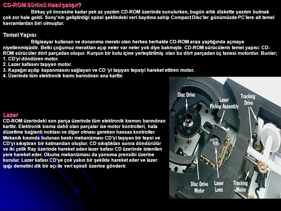 CD-ROM Sürücü Nasıl çalışır? CD-ROM Sürücü Nasıl çalışır? Birkaç yıl öncesine kadar pek az yazılım CD-ROM üzerinde sunulurken, bugün artık diskette ya