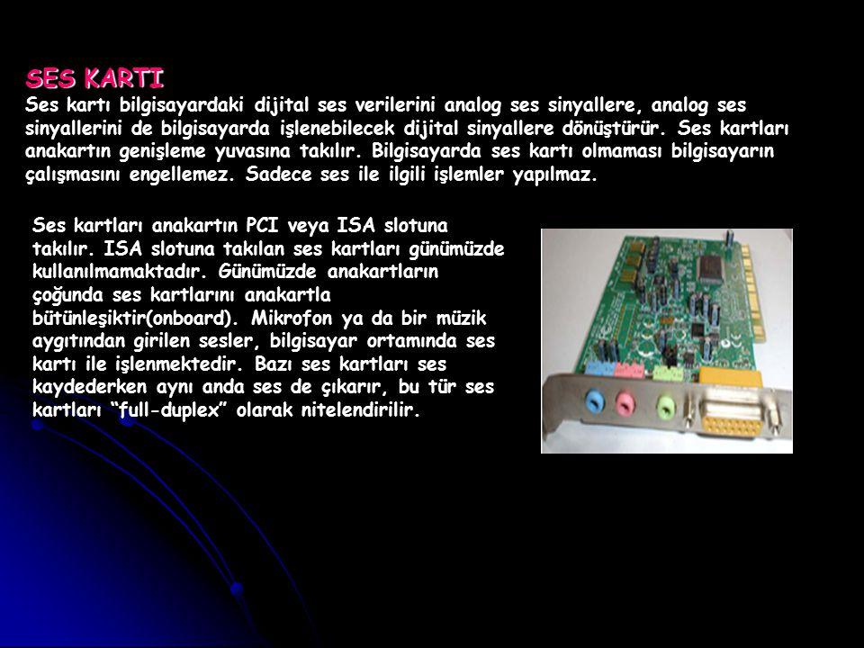SES KARTI Ses kartı bilgisayardaki dijital ses verilerini analog ses sinyallere, analog ses sinyallerini de bilgisayarda işlenebilecek dijital sinyall