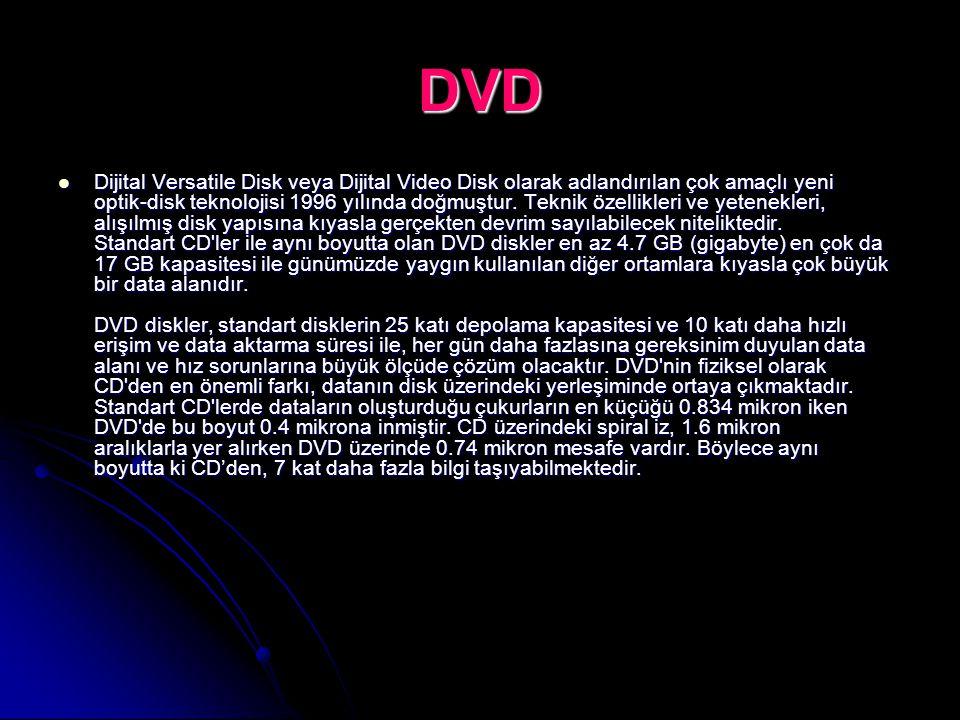 DVD Dijital Versatile Disk veya Dijital Video Disk olarak adlandırılan çok amaçlı yeni optik-disk teknolojisi 1996 yılında doğmuştur. Teknik özellikle