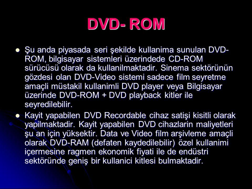 DVD- ROM Şu anda piyasada seri şekilde kullanima sunulan DVD- ROM, bilgisayar sistemleri üzerindede CD-ROM sürücüsü olarak da kullanilmaktadir. Sinema