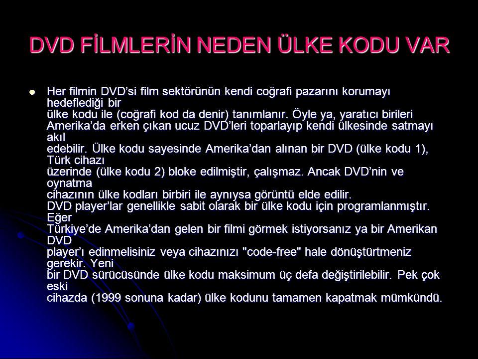 DVD FİLMLERİN NEDEN ÜLKE KODU VAR Her filmin DVD'si film sektörünün kendi coğrafi pazarını korumayı hedeflediği bir ülke kodu ile (coğrafi kod da deni