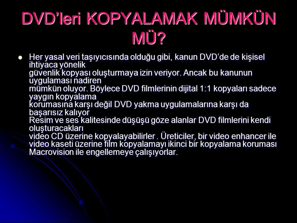 DVD'leri KOPYALAMAK MÜMKÜN MÜ? Her yasal veri taşıyıcısında olduğu gibi, kanun DVD'de de kişisel ihtiyaca yönelik güvenlik kopyası oluşturmaya izin ve