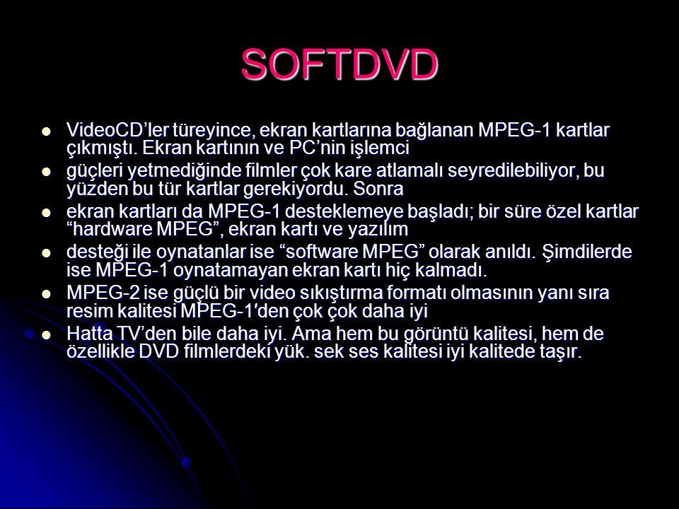 SOFTDVD VideoCD'ler türeyince, ekran kartlarına bağlanan MPEG-1 kartlar çıkmıştı. Ekran kartının ve PC'nin işlemci VideoCD'ler türeyince, ekran kartla
