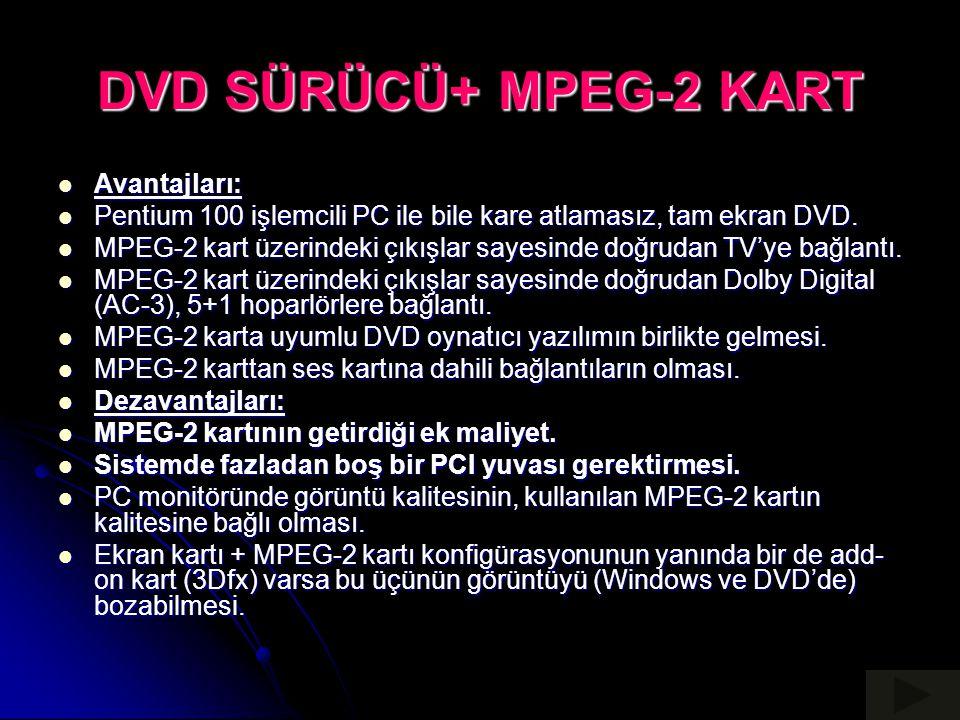 DVD SÜRÜCÜ+ MPEG-2 KART Avantajları: Avantajları: Pentium 100 işlemcili PC ile bile kare atlamasız, tam ekran DVD. Pentium 100 işlemcili PC ile bile k