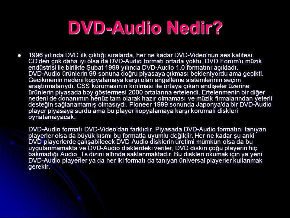 DVD-Audio Nedir? 1996 yılında DVD ilk çıktığı sıralarda, her ne kadar DVD-Video'nun ses kalitesi CD'den çok daha iyi olsa da DVD-Audio formatı ortada