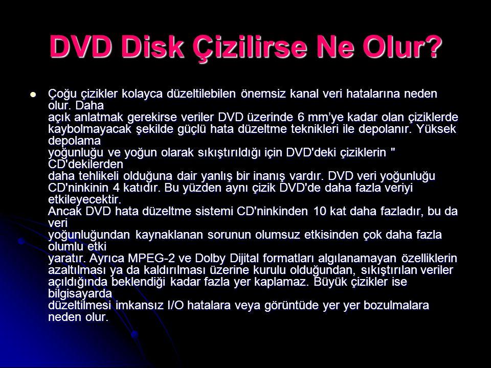 DVD Disk Çizilirse Ne Olur? Çoğu çizikler kolayca düzeltilebilen önemsiz kanal veri hatalarına neden olur. Daha açık anlatmak gerekirse veriler DVD üz