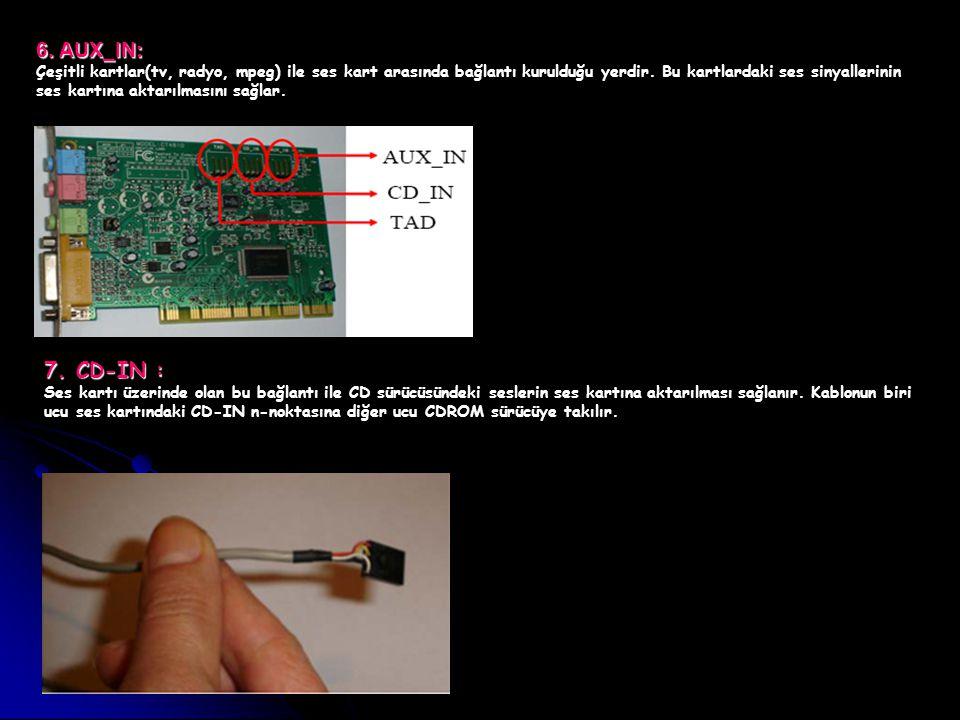 6. AUX_IN: Çeşitli kartlar(tv, radyo, mpeg) ile ses kart arasında bağlantı kurulduğu yerdir. Bu kartlardaki ses sinyallerinin ses kartına aktarılmasın