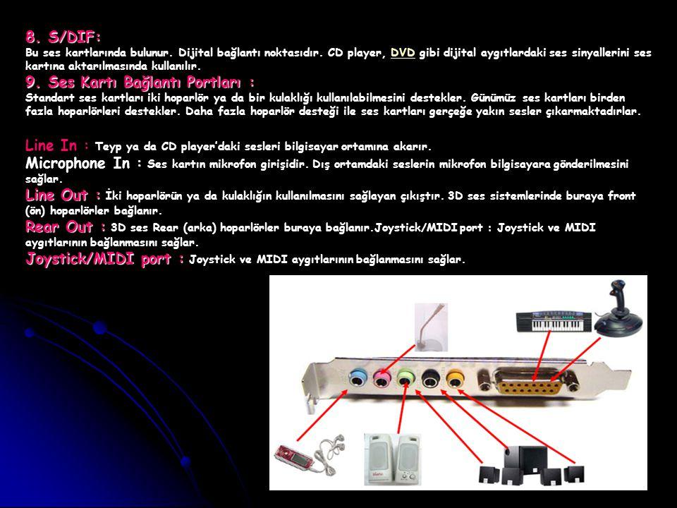 8. S/DIF: Bu ses kartlarında bulunur. Dijital bağlantı noktasıdır. CD player, DVD gibi dijital aygıtlardaki ses sinyallerini ses kartına aktarılmasınd
