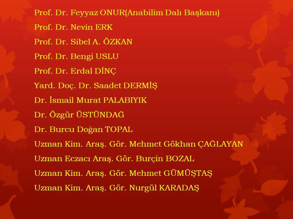 Prof.Dr. Feyyaz ONUR(Anabilim Dalı Başkanı) Prof.
