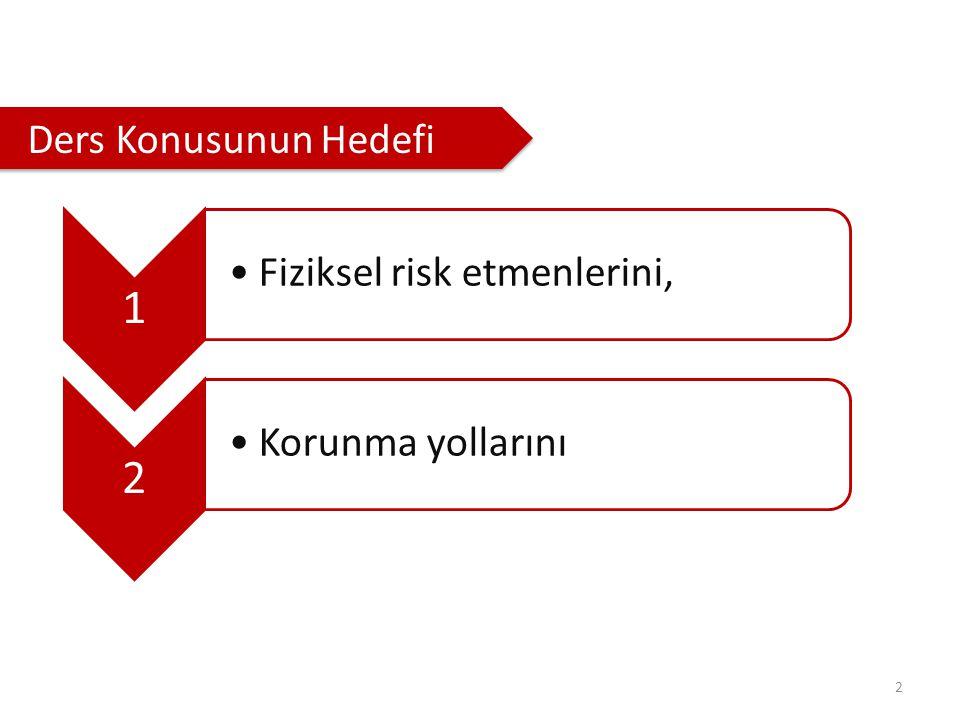 2 Ders Konusunun Hedefi 1 Fiziksel risk etmenlerini, 2 Korunma yollarını