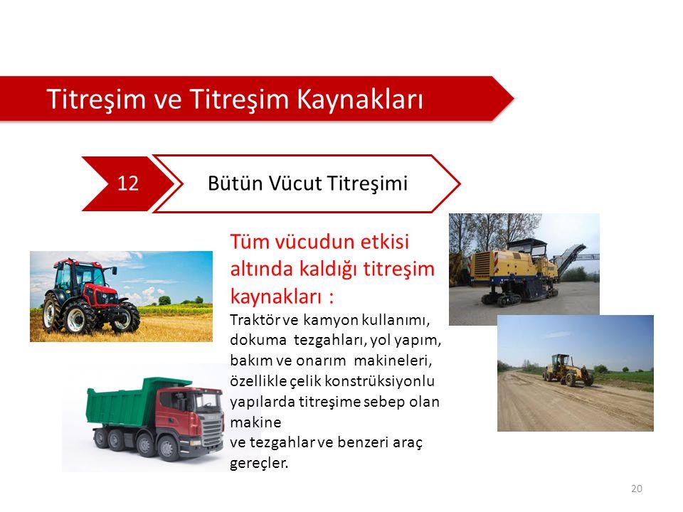 20 Titreşim ve Titreşim Kaynakları 12 Bütün Vücut Titreşimi Tüm vücudun etkisi altında kaldığı titreşim kaynakları : Traktör ve kamyon kullanımı, doku