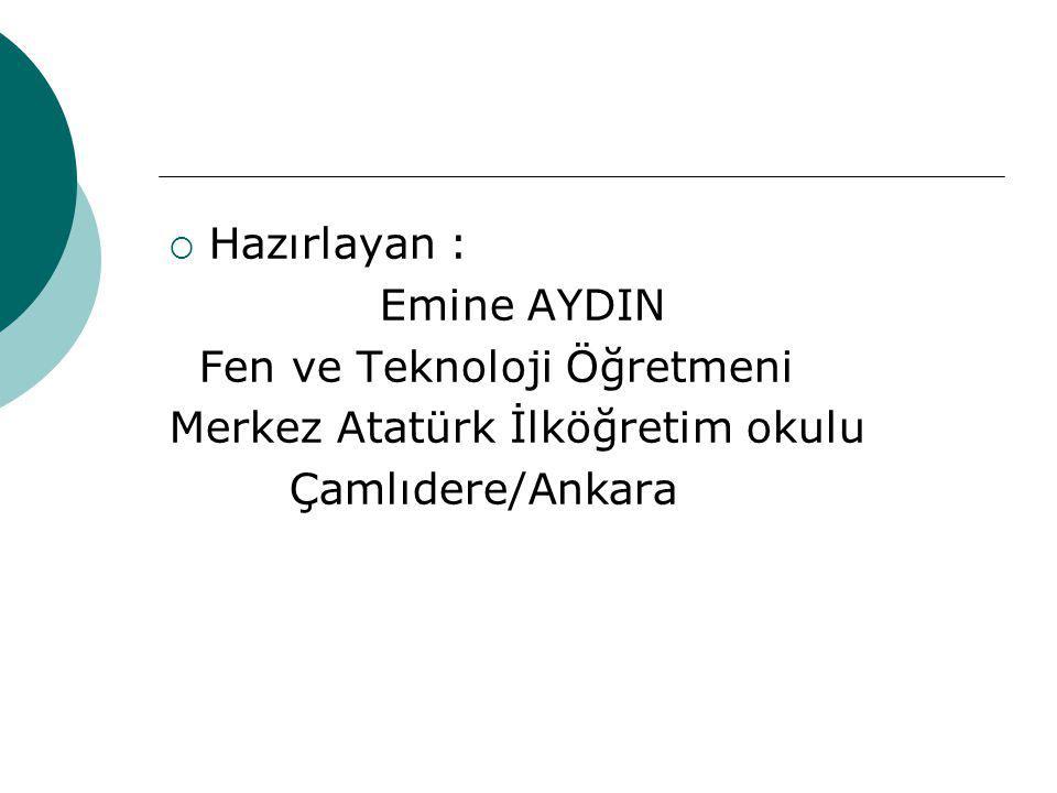  Hazırlayan : Emine AYDIN Fen ve Teknoloji Öğretmeni Merkez Atatürk İlköğretim okulu Çamlıdere/Ankara