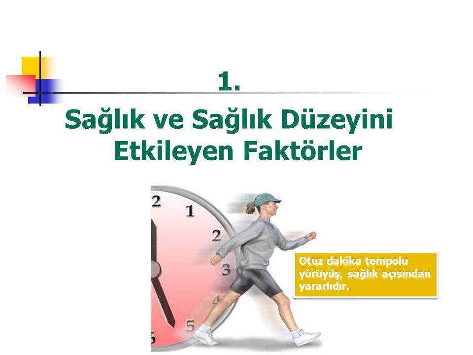 1. Sağlık ve Sağlık Düzeyini Etkileyen Faktörler Otuz dakika tempolu yürüyüş, sağlık açısından yararlıdır.