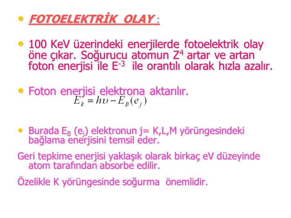 FOTOELEKTRİK OLAY : FOTOELEKTRİK OLAY : 100 KeV üzerindeki enerjilerde fotoelektrik olay öne çıkar. Soğurucu atomun Z 4 artar ve artan foton enerjisi