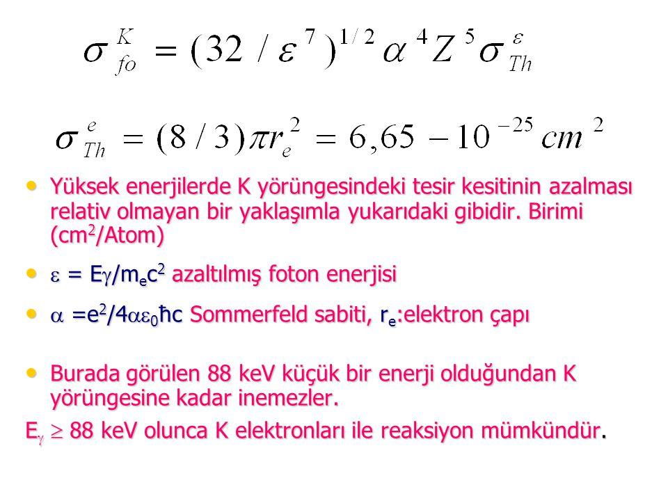 Y ü ksek enerjilerde K y ö r ü ngesindeki tesir kesitinin azalması relativ olmayan bir yaklaşımla yukarıdaki gibidir. Birimi (cm 2 /Atom) Y ü ksek ene