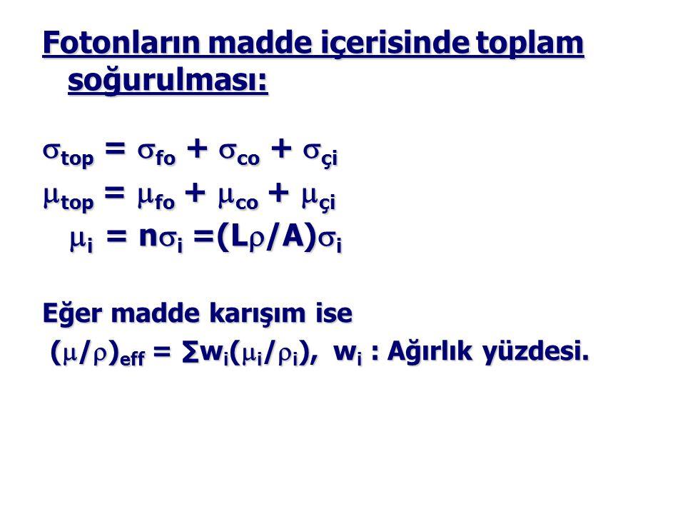 Fotonların madde içerisinde toplam soğurulması:  top =  fo +  co +  çi  top =  fo +  co +  çi  i = n  i =(L  /A)  i  i = n  i =(L  /A)  i Eğer madde karışım ise (  /  ) eff = ∑w i (  i /  i ), w i : Ağırlık yüzdesi.