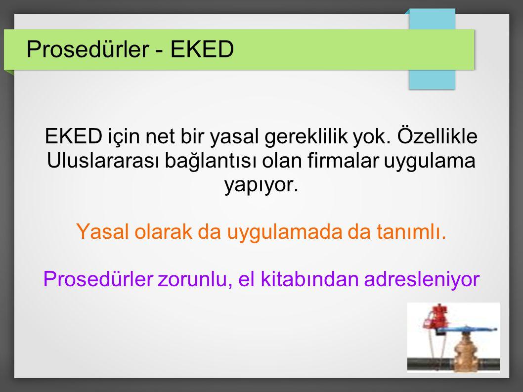 Prosedürler - EKED EKED için net bir yasal gereklilik yok.