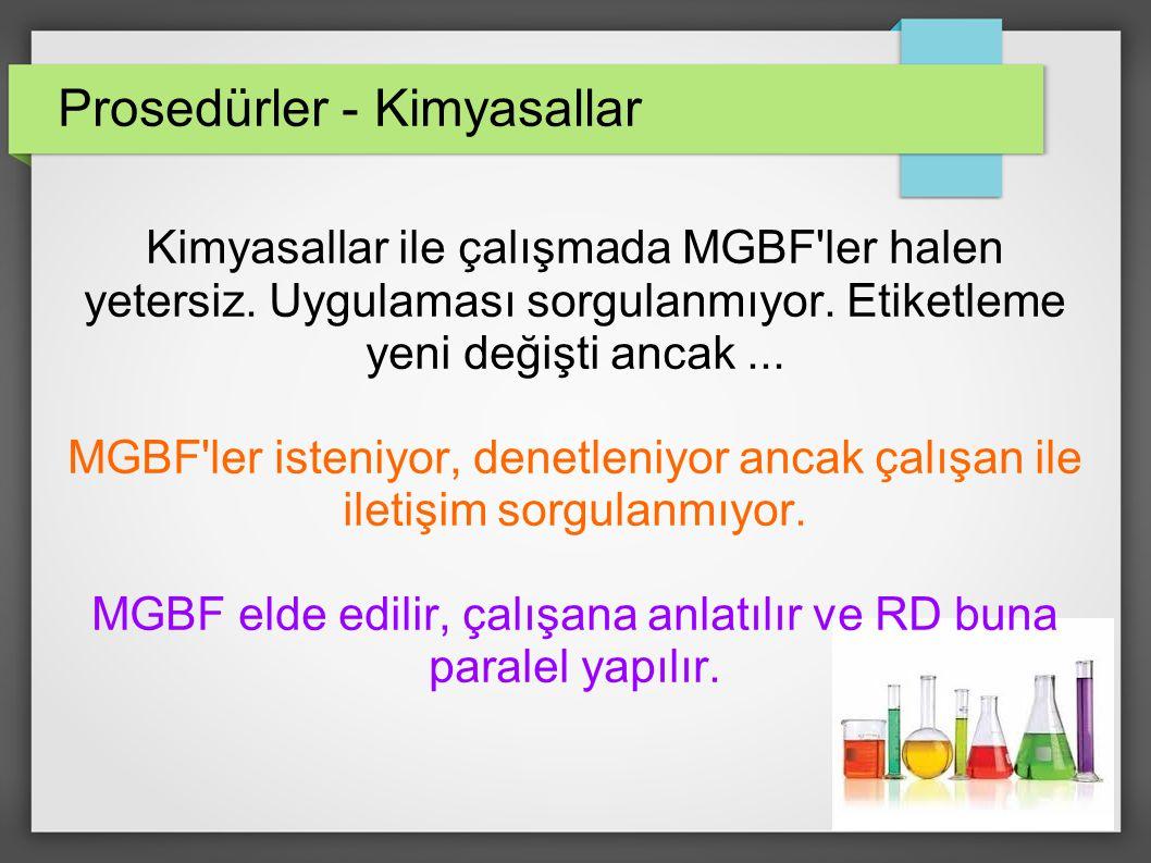 Prosedürler - Kimyasallar Kimyasallar ile çalışmada MGBF ler halen yetersiz.