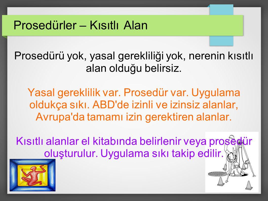 Prosedürler – Kısıtlı Alan Prosedürü yok, yasal gerekliliği yok, nerenin kısıtlı alan olduğu belirsiz.
